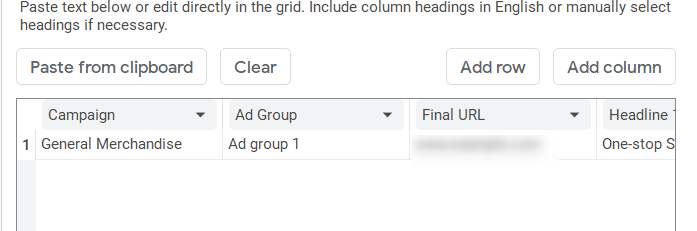 Paste the RSA data from your spreadsheet to the grid on the Make multiple changes form